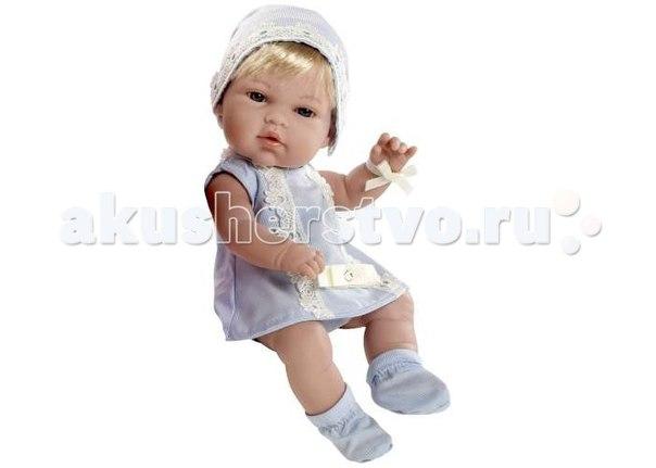 Пупс блондин в голубом платьице со стразами swarowski 33 см, Arias