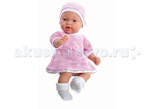 Кукла мягкая плачет в розовом платье и шапочке 28 см, Arias
