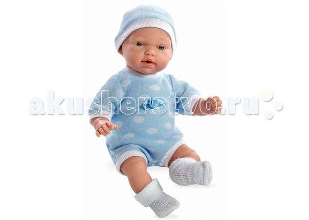 Кукла мягкая плачет в в голубом боди и шапочке 28 см, Arias