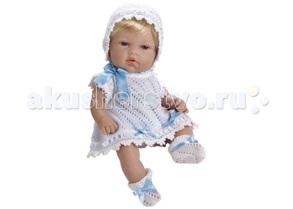 Пупс блондин в белом вязаном с голубым бантом 33 см, Arias