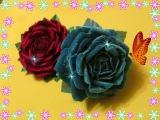 Роза из ткани своими руками  Роза из бархата  Мастер класс  Елена Шевченко