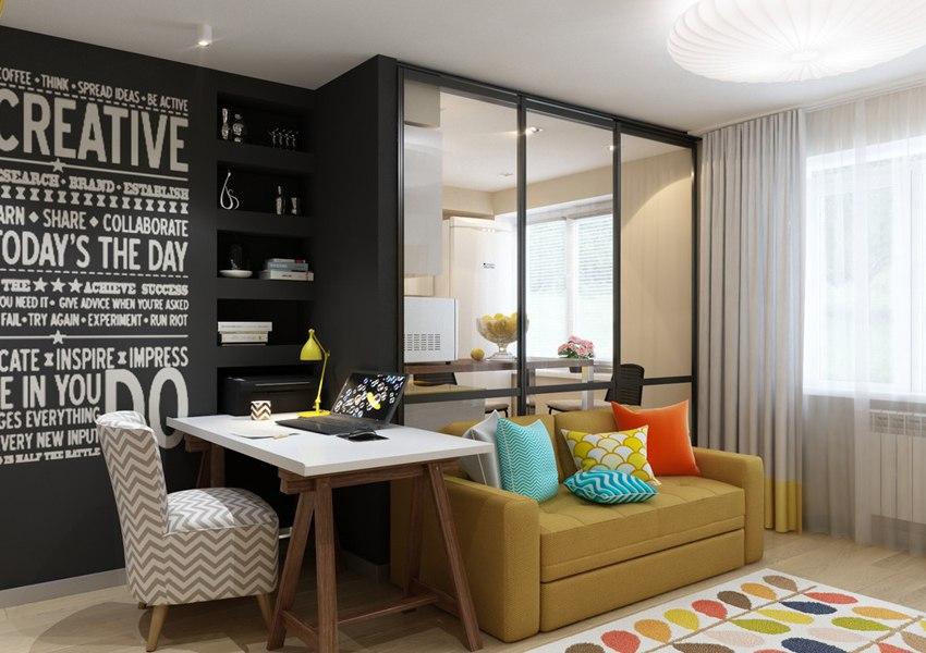 Яркий дизайн-проект квартиры 28,4 м.
