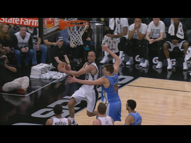 Ginobili's Excellent Pass to Dedmon Nuggets vs Spurs January 19 2017 2016 17 NBA Season