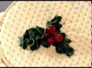 Ручная работа 28 01 2017 Вышивка лентами листья падуба остролиста
