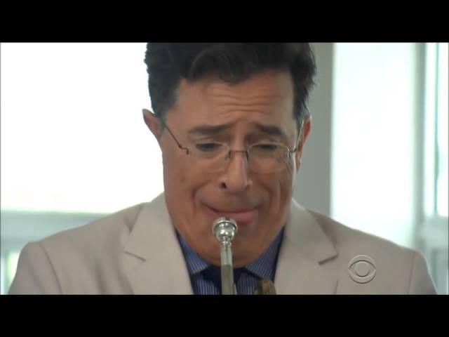 Colbert Tries Jazz Trumpet