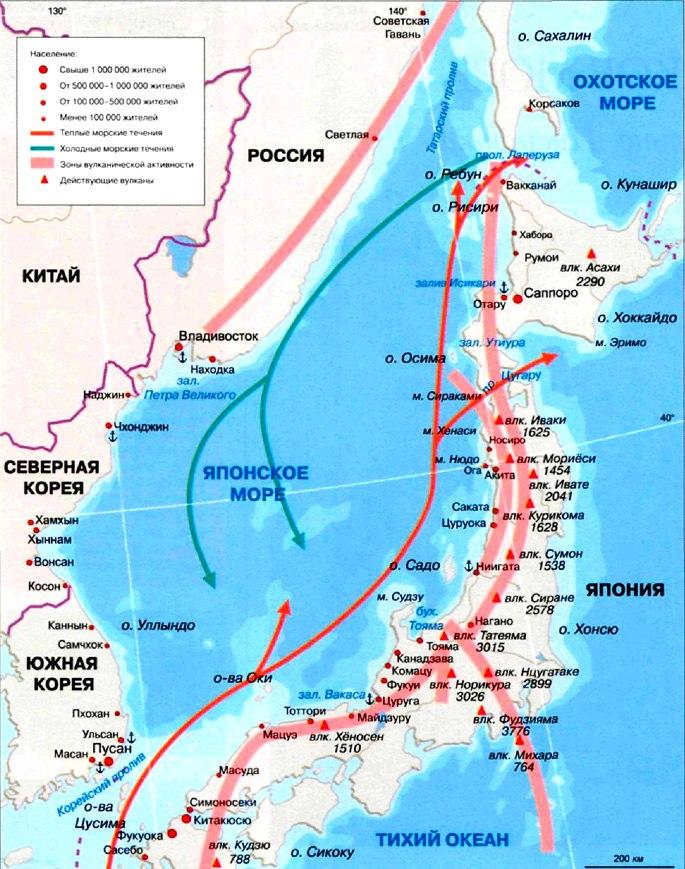 Где находиться японское море карта