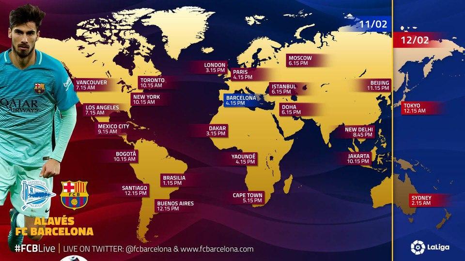 Матч «Алавес» — «Барселона» 11.02.2017 в часовых поясах