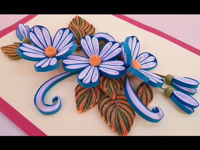 ☑️Paper Quilling ❤ How to make Beautiful Quilling Blue White Flower design Birthday greeting cards