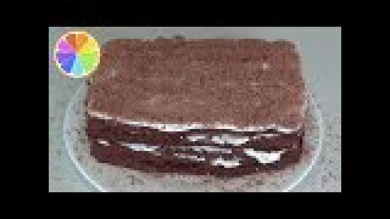 Шоколадный сметанный торт за 10 минут.