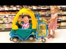 Кукла Беби Бон играет в супермаркете Видео для детей funny Bad Baby Doing Shopping Kids Mini Car