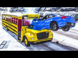 Опасное вождение зимой Тачки теряют управление Машинки аварии как в кино Мульти...