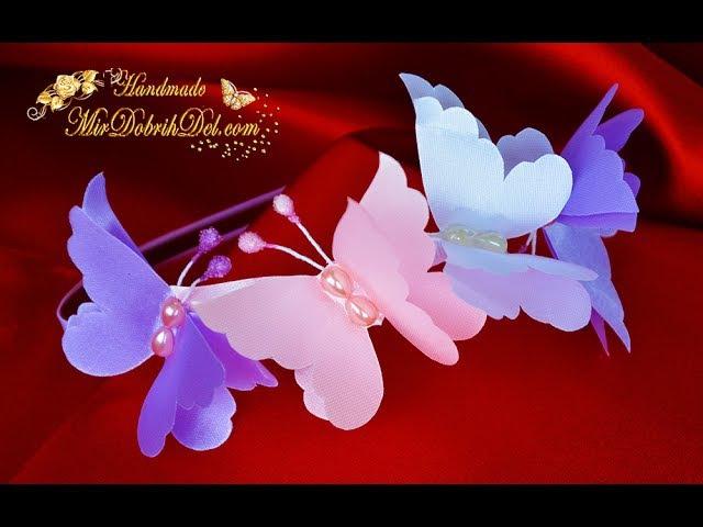 ОБОДОК с бабочками 🌷DIY Kanzashi Headband » Freewka.com - Смотреть онлайн в хорощем качестве