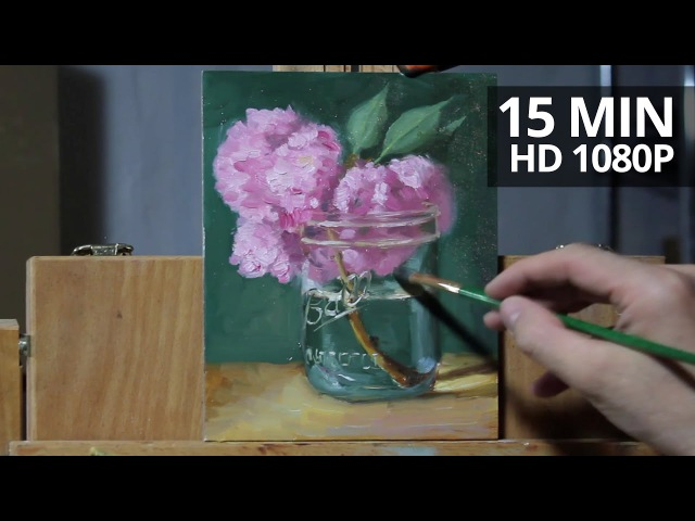 How to paint flowers, Cherry Blossoms in a ball jar oil painting demo by Aleksey Vaynshteyn