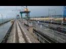 Плотина. Днепродзержинск. Вид с кабины электровоза. Dam. Ball. View from the locomotive cab.