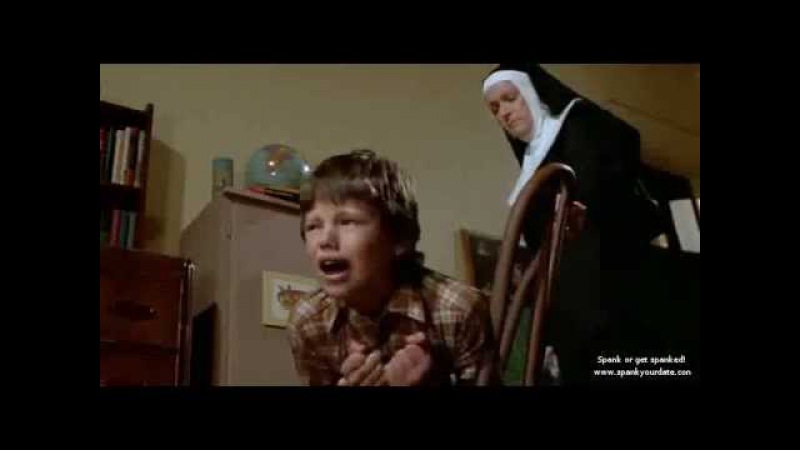 Mean Nun spanking a boy with a belt (Silent Night, Deadly Night )