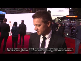 Arrival premiere: Jeremy Renner interview on Denis Villeneuve, Amy Adams, non superhero films (рус. суб.)