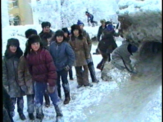 Площадь Ленина. Новокуйбышевск. Зима, 1991 год.