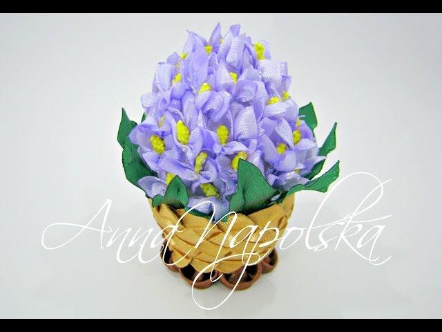 Писанка Бузок канзаши. Пасхальное яйцо Сирень своими руками. Easter egg Lilac kanzashi