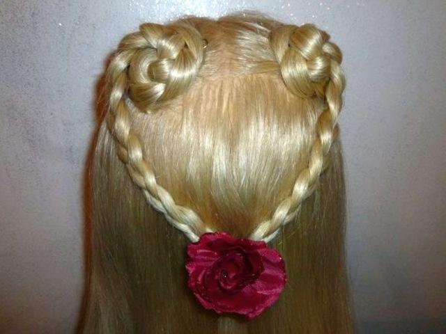 Лёгкая причёска в школу для детей, причёска для средних/длинных волос Сердце из ...