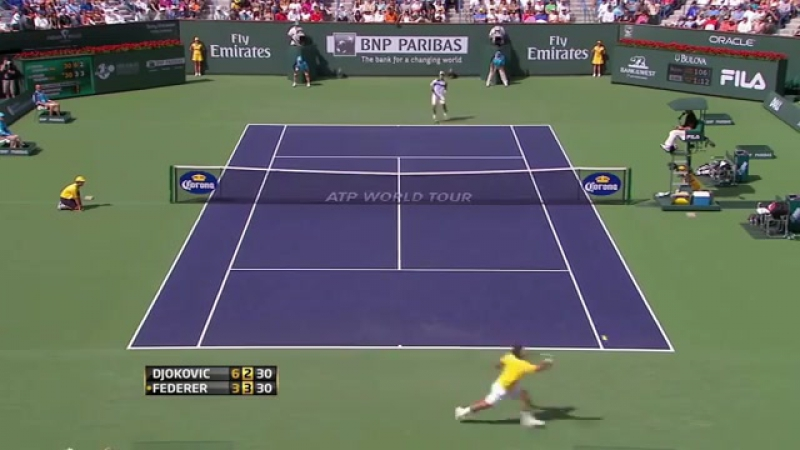 Ахуительный розыгрыш от непробиваемого Роджера Федерера в матче против Новака Джоковича
