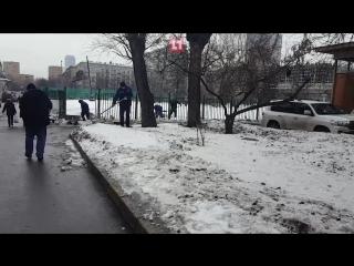 Дворники, посыпающие дороги чистым снегом