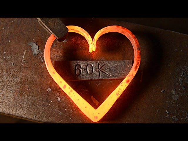 Blacksmithing - Forging a heart (60k sub video)