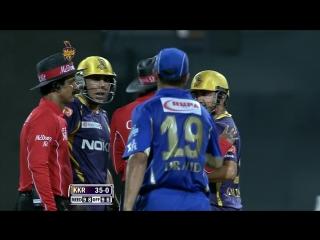 Watson, Bisla, Gambhir, Dravid in on-field spat _ Pepsi IPL 2013 - KKR vs RR, Match 47