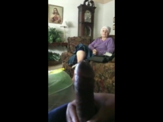 Granny watches bbc cum