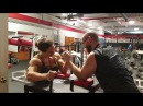 Strong girl mixed arm wrestling strength athlete