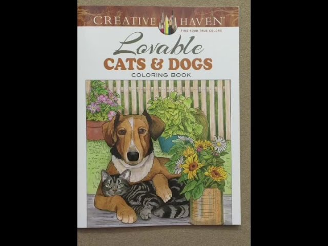 Creative Haven Lovable Cats and Dogs Coloring Book flip through