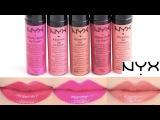 NYX Xtreme Lip Cream Swatches on Lips 5 colors