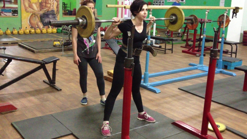 Екатерина Бабель присед 45 кг на 8 раз