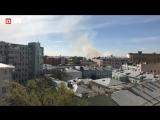 На Лубянском проезде загорелось здание