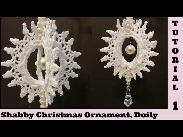 Spin Doily Diy 1, Tutorial, Christmas Ornament, Snowflake, Shabby Chic decor. Embellishment, cotton