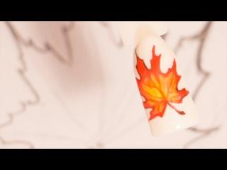 Рисунки гель лаком на ногтях. Маникюр кленовый лист. Осенний дизайн ногтей пошаг...