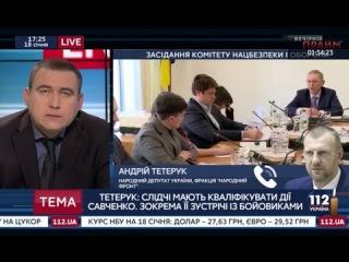Тетерук: Следователи должны квалифицировать действия Савченко, в частности ее встречу с боевиками