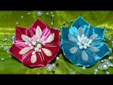Красивые резиночки из лент. Канзаши. Beautiful rezinochki ribbons. Kanzashi