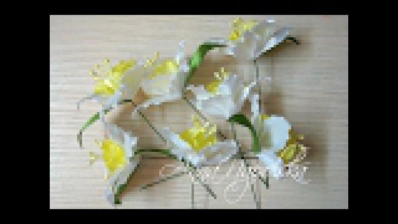 Нарциси канзаши для букета Нарциссы канзаши своими руками Daffodils kanzashi