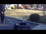 Strongman Tire Drag - 300 Pounds X 50 Yards - Best Leg Exercises - Cold Weather Training