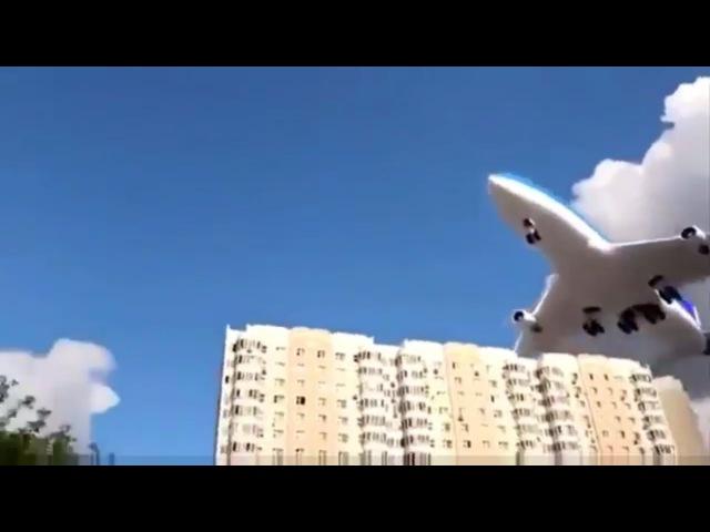 Низколетящие самолеты пролетают очень низко над жилыми домами. Tiefflieger über die Häuser.