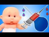 Куклы пупсики играем в дочки матери Доктор делает укол Клизма Мультик для девочек Видео для детей