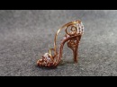 Copper mini shoe pendant - Cinderella shoe - wire wrap jewelry design 5
