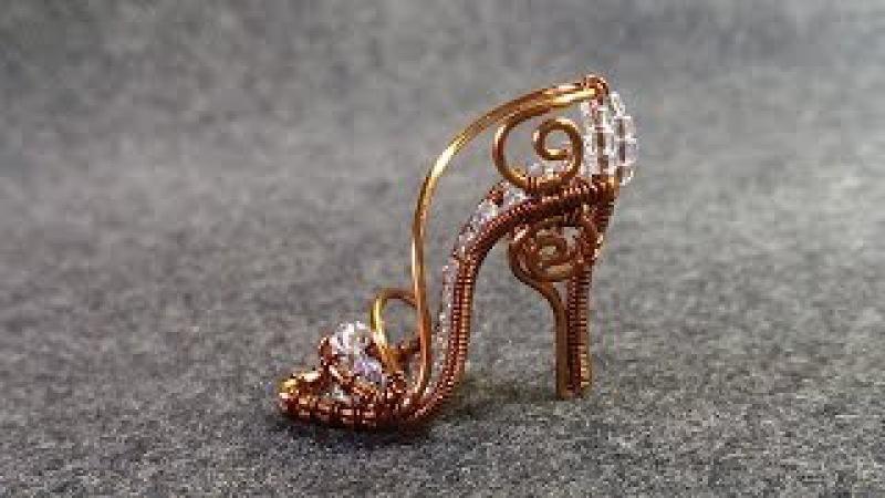 Copper mini shoe pendant - Cinderella shoe - wire wrap jewelry design 5