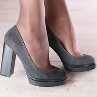 00006a5e код: 2442-1 Туфли женские, из натуральной замши, серые на модной подошве  BJORK