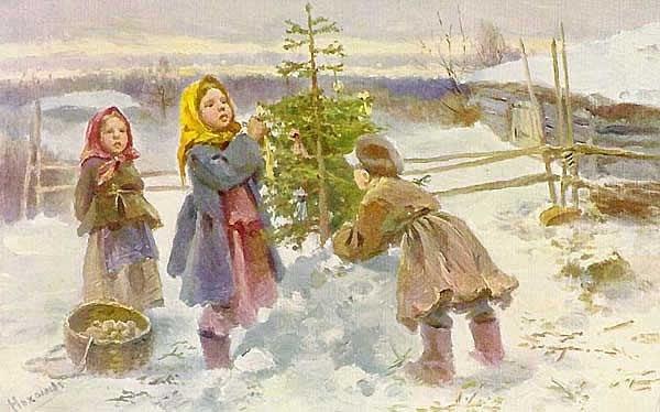 В Сочельник, под Рождество, - бывало, до звезды не ели. Кутью варили, из пшеницы,