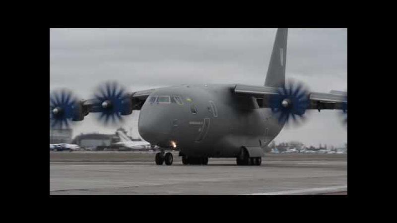 Посадка літака АН-70 при потужному боковому вітрі AN-70 is approaching under condition of side wind