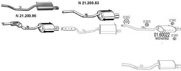 Глушитель выхлопных газов конечный для BMW Z3 купе (E36)