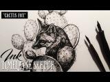 Cactus Fox - Ink Speed Sketch