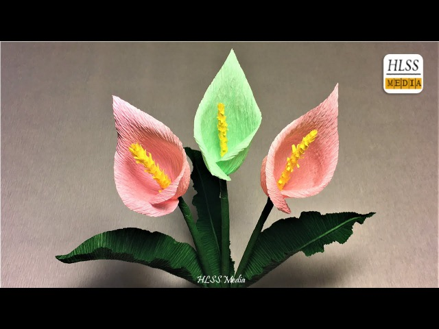 How to make calla lily paper flower| diy calla lily crepe paper flower making tutorials
