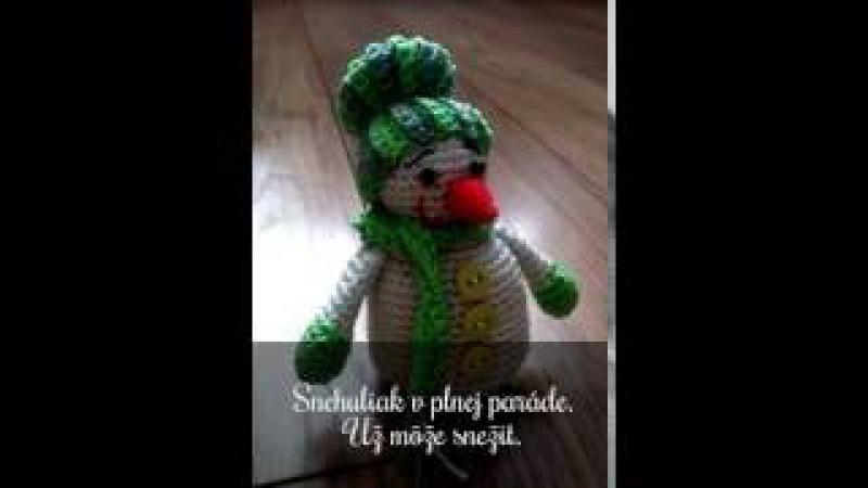 Postup na háčkovaného snehuliaka /crochet pattern snowman/